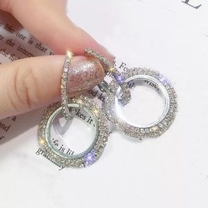 Jewelry - Silver Diamond Crystal Hoop Drop Earrings